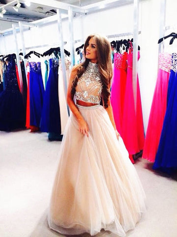 d9a9dd473909 Custom Made Light Champagne 2 Pieces Long Prom Dress, Formal Dress