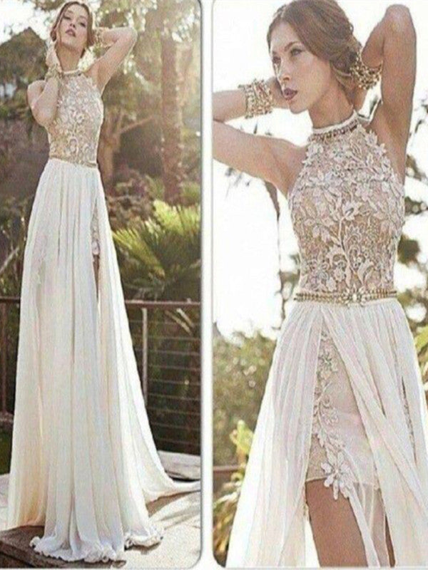 Custom Made A Line High Neck Backless Long Lace Prom Dresses Long