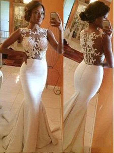 Custom Made White A-line round neckline Lace Long Prom Dresses, Wedding Dress