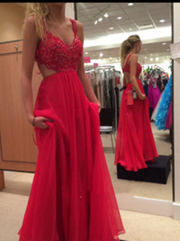 A Line Backless Lace Prom Dresses, Lace Formal Dresses, Bridesmaid Dresses