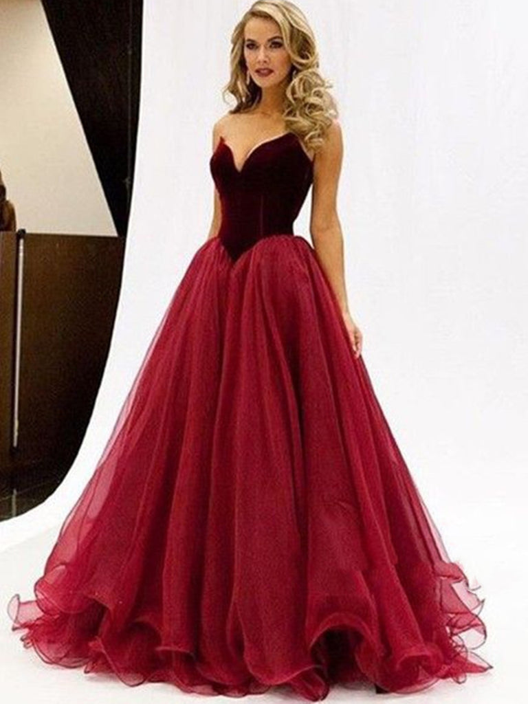 Sweetheart Neck Floor Length Maroon Ball Gown, Maroon Prom Dress ...