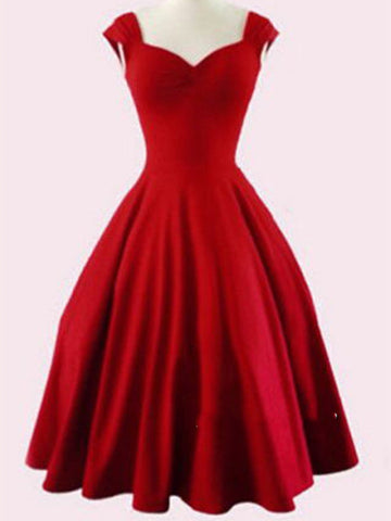 Custom Made A Line Short Red Prom Dresses, Short Red Homecoming Dresses, Formal Dresses