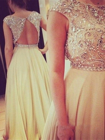 Champagne Chiffon round neckline Backless Long Prom Dresses, Evening Dress