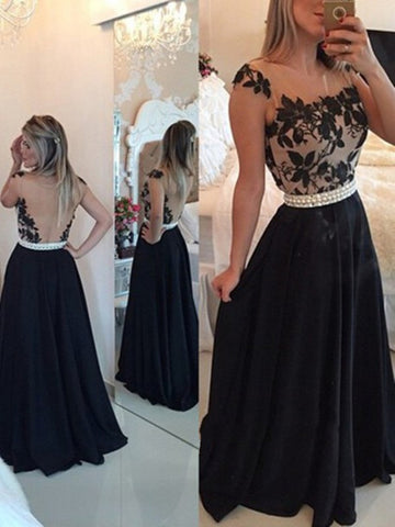 A Line Round Neck Black Lace Formal Dress, Black Lace Prom Dress, Party Dress