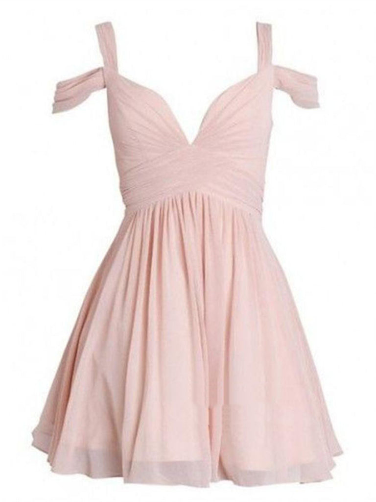 Cute Short Pink Off Shoulder Prom Dresses, Pretty Homecoming Dresses