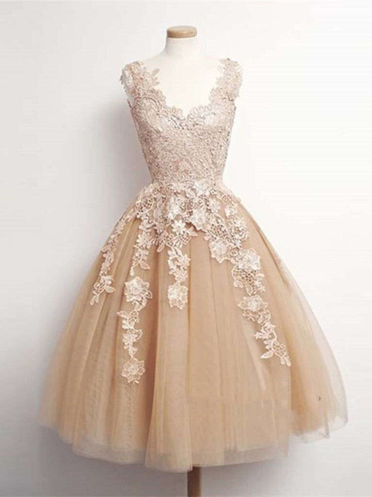 A Line V Neck Champagne Lace Prom Dresses, Champagne Lace Formal Dresses, Homecoming/Graduation Dresses