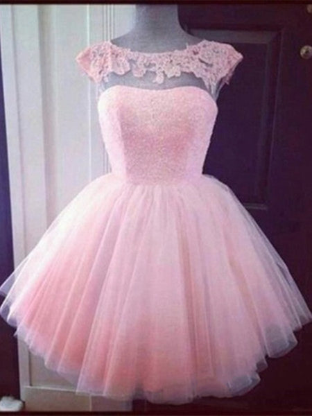 Custom Made Pink Tulle Round Neck Short Lace Prom Dress, Homecoming Dress