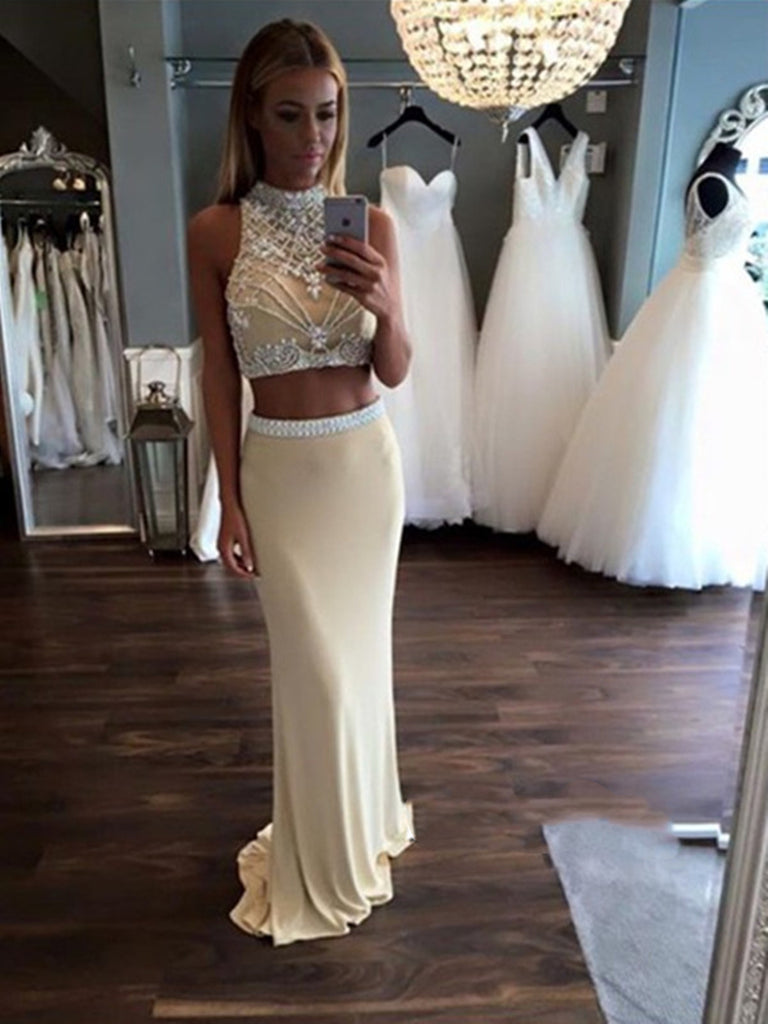 Custom Made A Line 2 Pieces Chiffon Prom Dresses, 2 Pieces Formal Dress, Party Dresses
