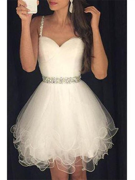 Custom Made Sweetheart Neck Sleeveless White Short Prom Dresses, Homecoming Dresses, Graduation Dresses