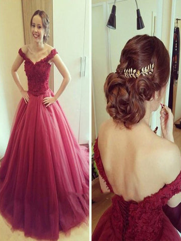 Off Shoulder Burgundy Lace Prom Dresses, Burgundy Off Shoulder Lace Formal Dresses