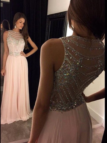 Custom Made A Line Round Neck Sleeveless Long Pink Prom Dresses, Pink Formal Dresses
