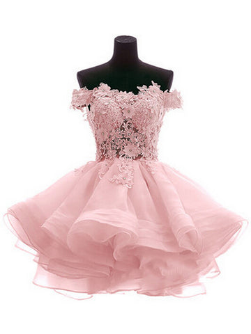 62b320c0082 Custom Made Off Shoulder Pink Lace Prom Dresses