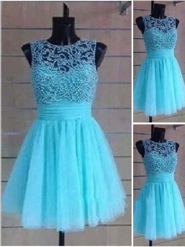 A Line Round Neck Short Prom Dresses, Short Homecoming Dresses