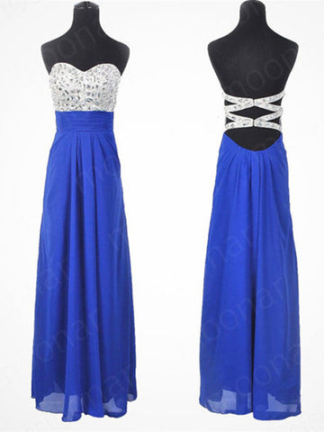 A Line Backless Blue Prom Dresses, Red Prom Dresses, Dresses For Prom, Backless Prom Dresses, Graduation Dresses