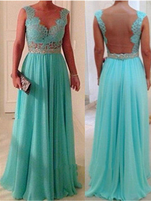 Custom Made A Line Long Blue Lace Prom Dress, Lace Bridesmaid Dress, Blue Lace Formal Dress