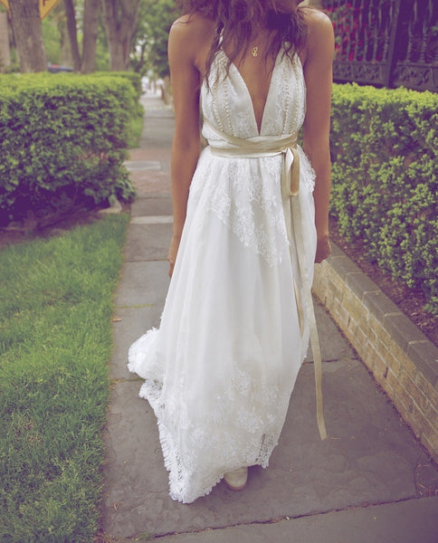 A Line Halter Neck Backless Lace Wedding Dresses, Backless Lace Prom Dress