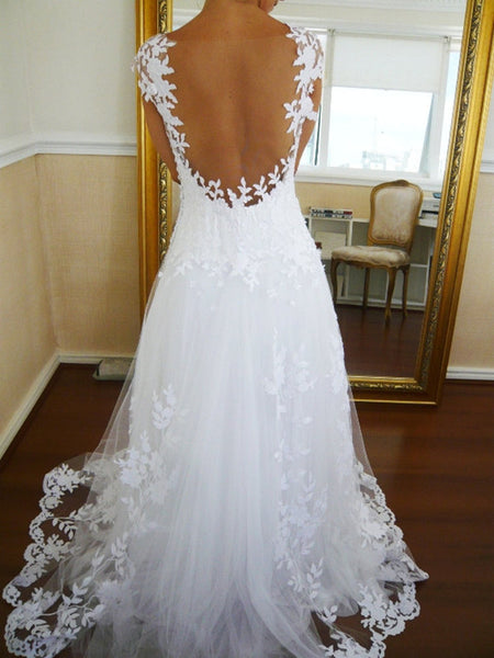 Long Ball Gown Backless Lace Wedding Dresses, Prom Dress, Formal Dresses, Backless Lace Bridal Dress