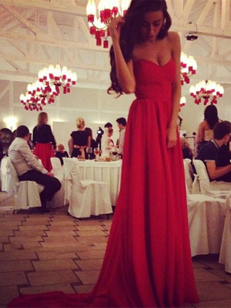 Sweetheart Neck Red Long Prom Dresses With Train, Red Formal Dresses 2015, Red Evening Dresses