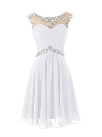 A Line Short Round Neckline Prom Dresses 2015, Short Graduation Dresses 2015, Short Formal Dresses, Cocktail Dresses
