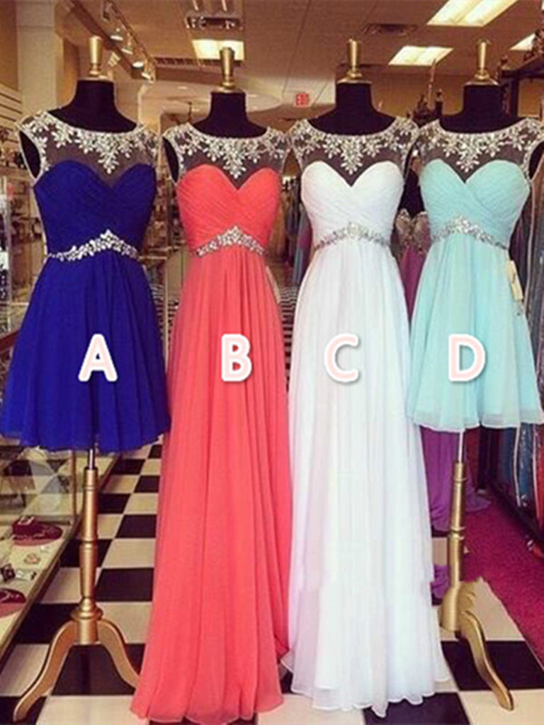 Custom Made A Line Round Neckline Prom Dresses 2016, Party Dresses 2016, Formal Dresses 2016