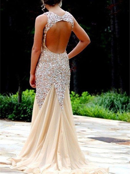Custom Made Nude/ Champagne Mermaid Open Back Prom Dresses, Dresses For Prom, Mermaid Evening Dresses, Formal Dresses 2016