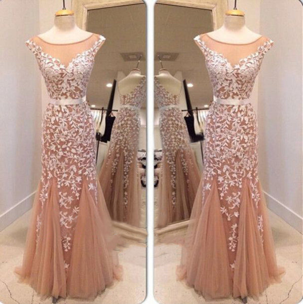 Mermaid Round Neckline Floor Length Lace Prom Dresses, Lace Formal Dresses. Lace Evening Dresses