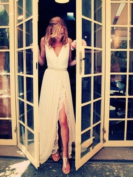 Ivory A Line V Neck Floor Length Lace Wedding Dress with Slit, A Line V Neck Lace Prom Dresses, Formal Dress