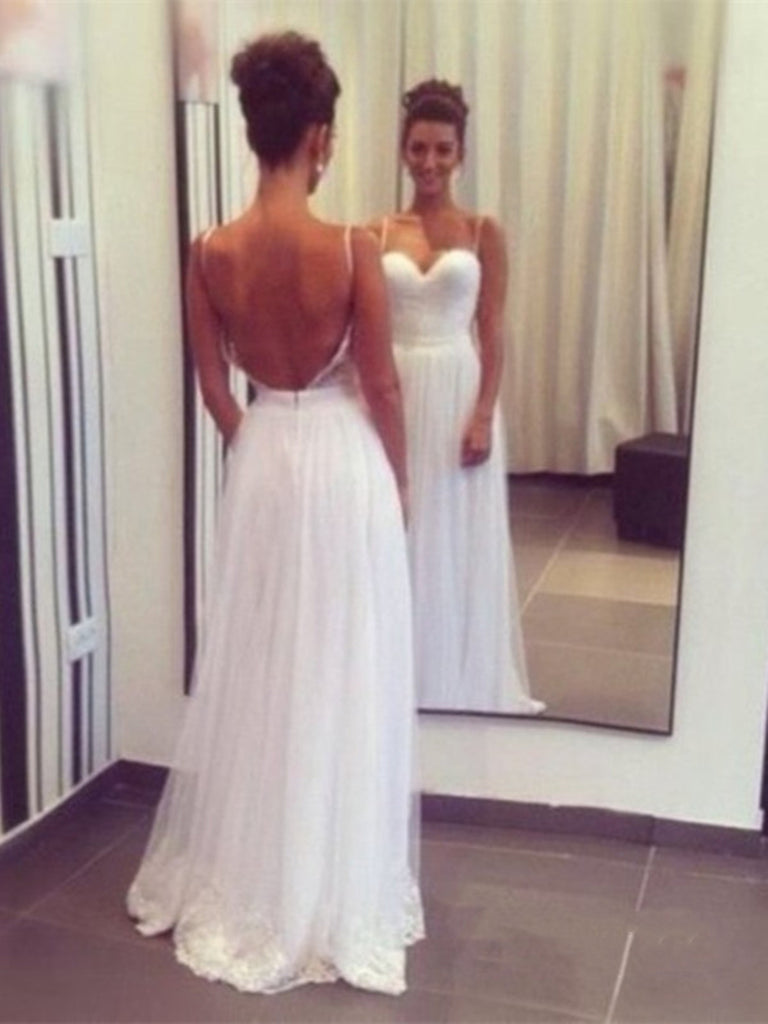 A Line Sweetheart Backless Prom Dresses, White Backless Party Dresses, White Formal Dresses