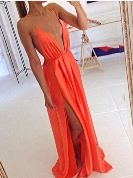 Custom Made Orange Deep V Neck Prom Dresses, Long Deep V Neck Evening Dresses