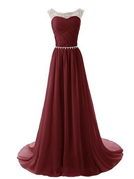 A Line Round Neckline Maroon Long Prom Dresses 2016, Long Formal Dresses