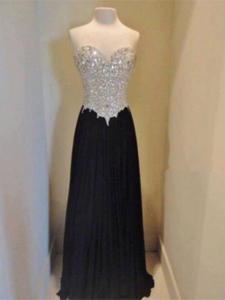 A Line Sweetheart Neckline Long Black Prom Dresses, Black Evening Dresses