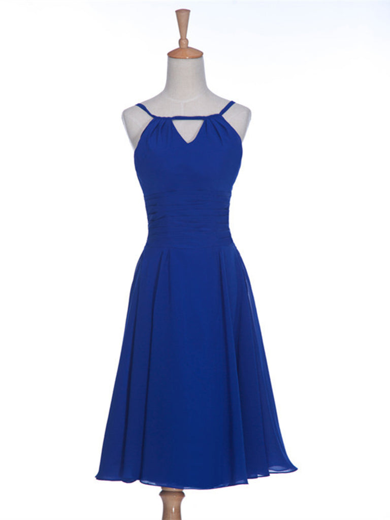 Round Neck Short Blue Prom Dresses, Short Bridesmaid Dresses
