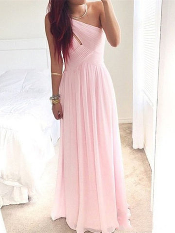 A Line One Shoulder Pink Floor Length Prom Dresses, Evening Dresses