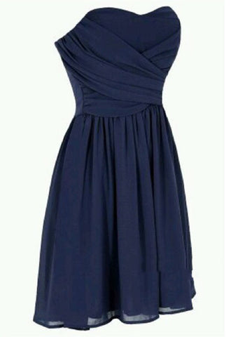 Sweetheart Neck Short Prom Dresses, Navy Blue Prom Dresses