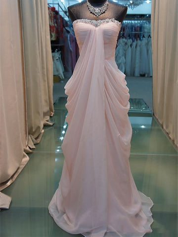Sweetheart Neck Pink Floor Length Prom Dresses, Pink Formal Dresses