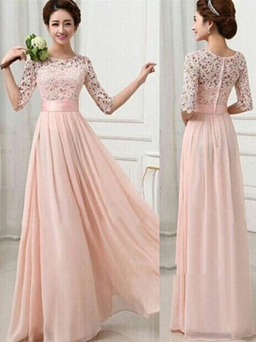 A Line Round Neck Half Sleeves Pink Long Prom Dresses, Evening Dresses