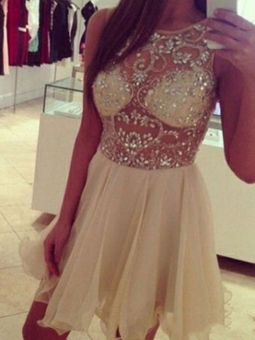 A Line Round Neck Short Sleeveless Prom Dresses, Short Graduation Dresses