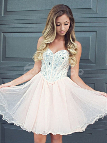 Light Pink Sweetheart Short Prom Dresses, Short Homecoming Dresses