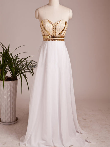 A Line Sweetheart Neck Floor Length Prom Dresses, Dresses For Prom