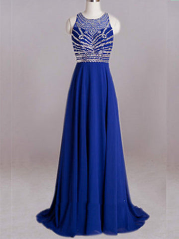 A Line Round Neck Prom Dresses, Long Evening Dresses, Formal Dresses