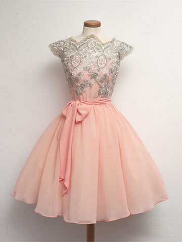 Custom Made Pink Lace Prom Dresses, Short Pink Dresses For Prom