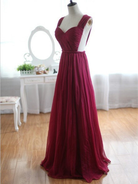Custom Made Wine Red Burgundy Chiffon Bridesmaid Dress/Prom Dress