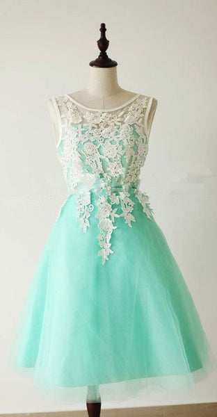 Custom Made A Line Round Neck Short Lace Prom Dresses, Bridesmaid Dresses