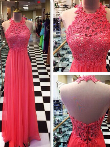 Custom Made A Line Halter Neck Floor Length Lace Prom Dresses, Dresses For Party