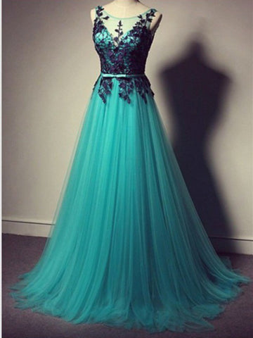 Custom Made A Line Round Neck Long Lace Prom Dresses, Dresses For Party