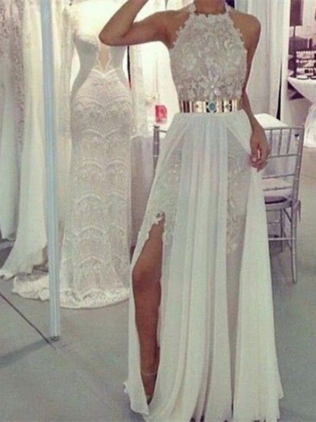 Custom Made A Line Long Lace Prom Dresses, Long Evening Dresses