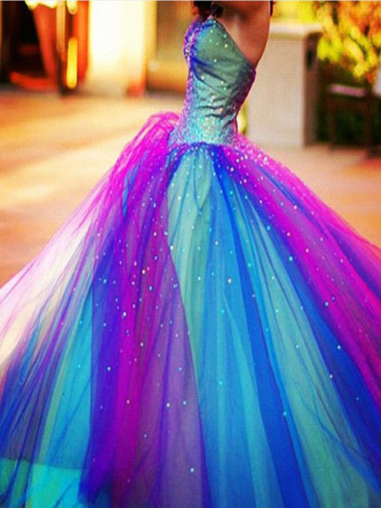 Custom Made Colorful Floor Length Long Prom Dresses, Colorful Formal Dresses