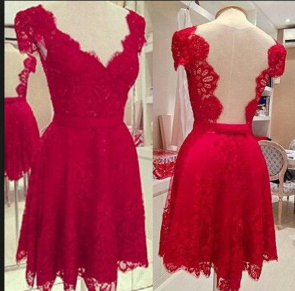 Custom Made V Neck Red Short Lace Prom Dresses, Short Lace Formal Dresses, Lace Homecoming Dresses