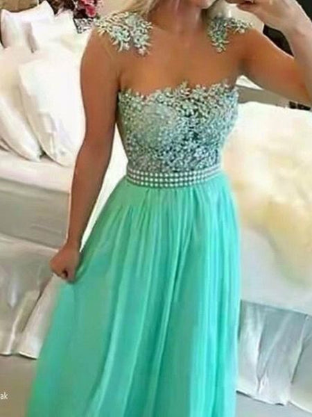 Custom Made A Line Round Neck Floor Length Sleeveless Lace Prom Dresses