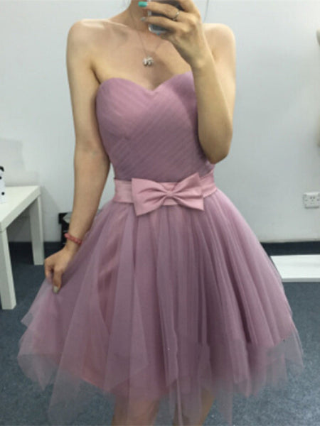 Sweetheart Neck Short Purple Prom Dress, Short Purple Graduation Dress, Homecoming Dress